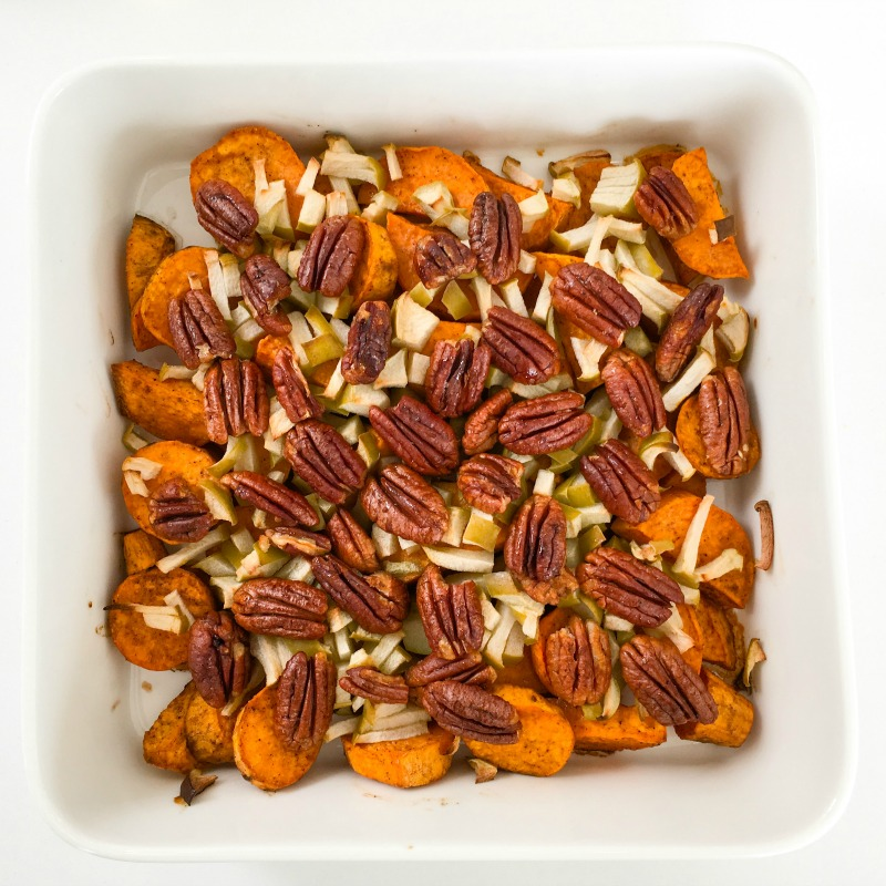 Spiced Sweet Potato with Green Apple and Maple Pecans