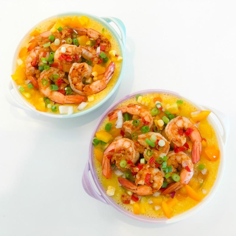 Sunshine Gazpacho with Spicy Prawns