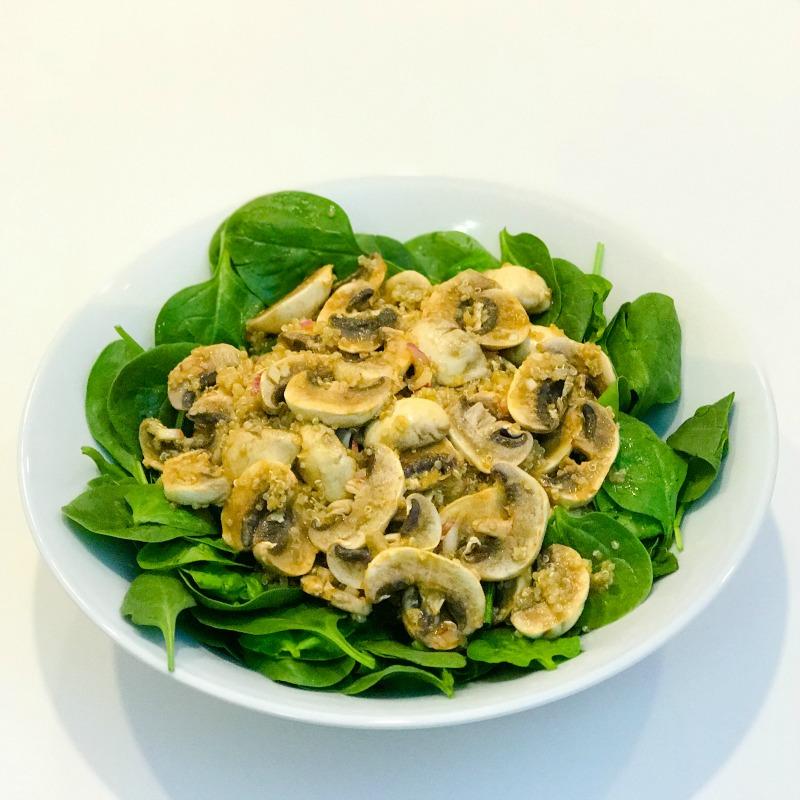 Mushroom, Quinoa and Spinach Salad