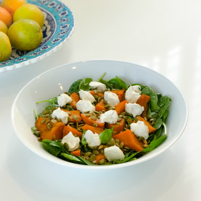 "Spinach, Pumpkin & Pepita Salad with Lemony Cashew ""Labne"""