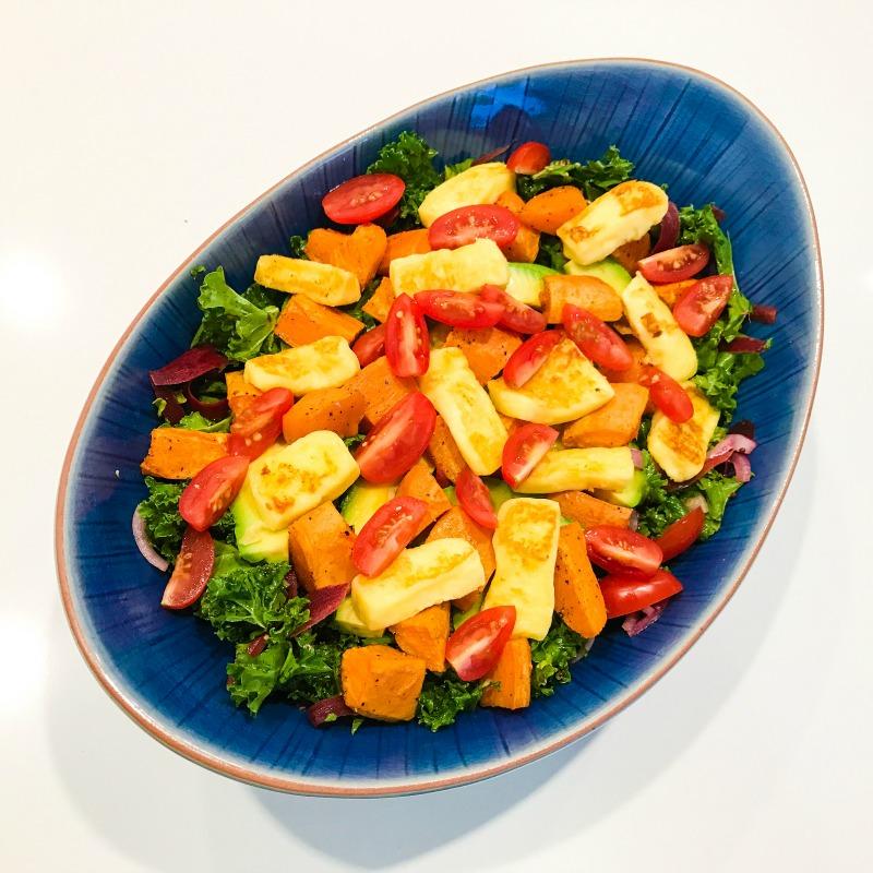 Kale Salad with Sweet Potato & Pan Fried Haloumi