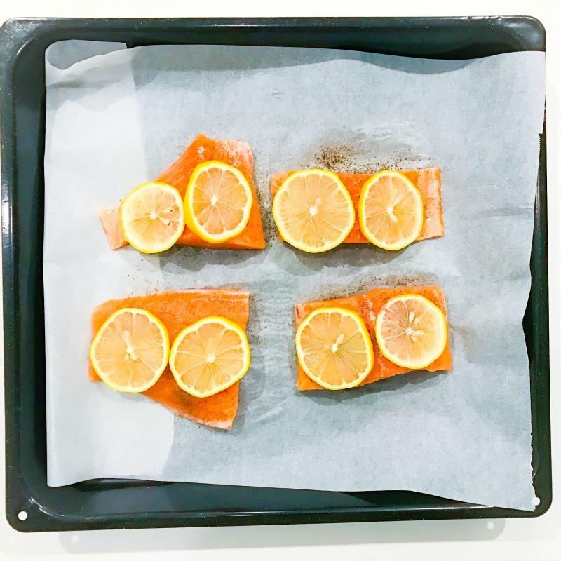 Oven Baked Salmon with Pea & Broccoli Mash