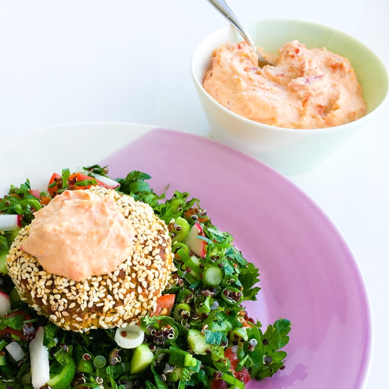 "Oven Baked Falafel with Spicy Sun Dried Tomato ""Mayo"" and Quinoa Tabouli"