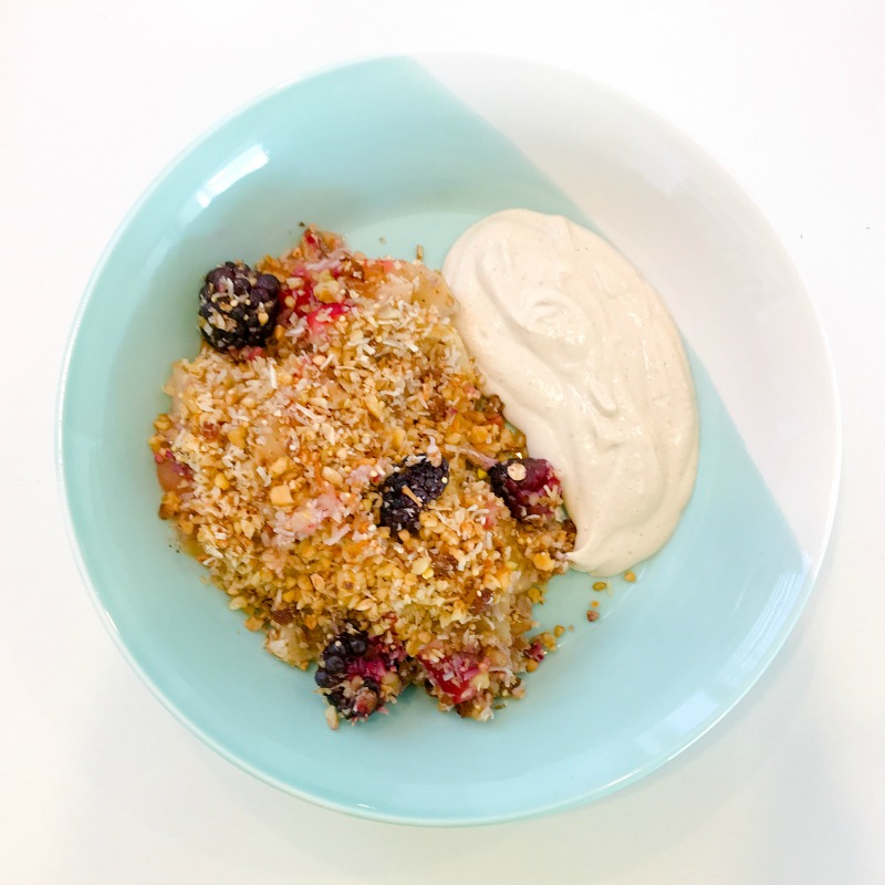 "Apple & Blackberry Crumble with Maple Spiced Cashew ""Creme"""