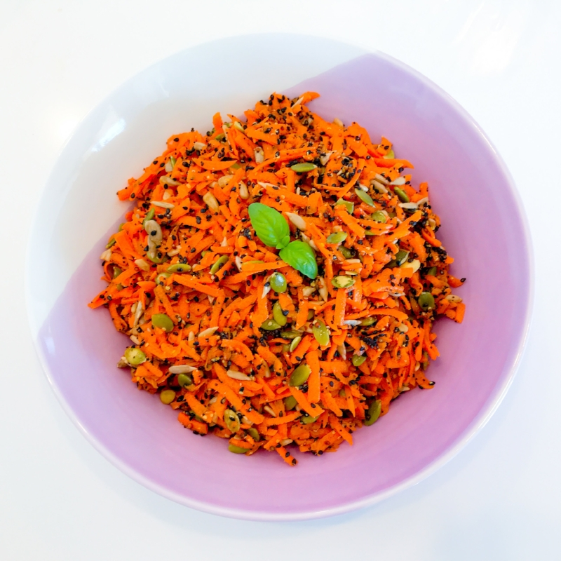 Super Seedy Carrot Salad with Lemon, Honey & Seeded Mustard Dressing