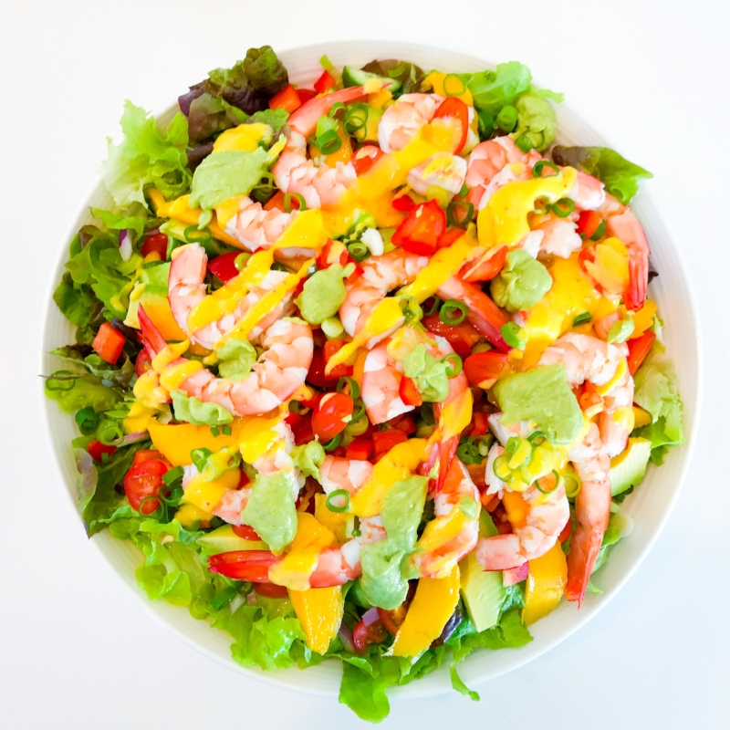 Prawn and Mango Celebration Salad with Two Delicious Dressings!