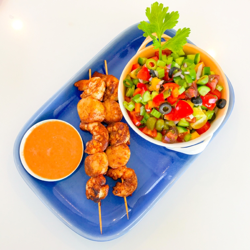 Spicy Seafood Skewers with Bloody Mary Salad