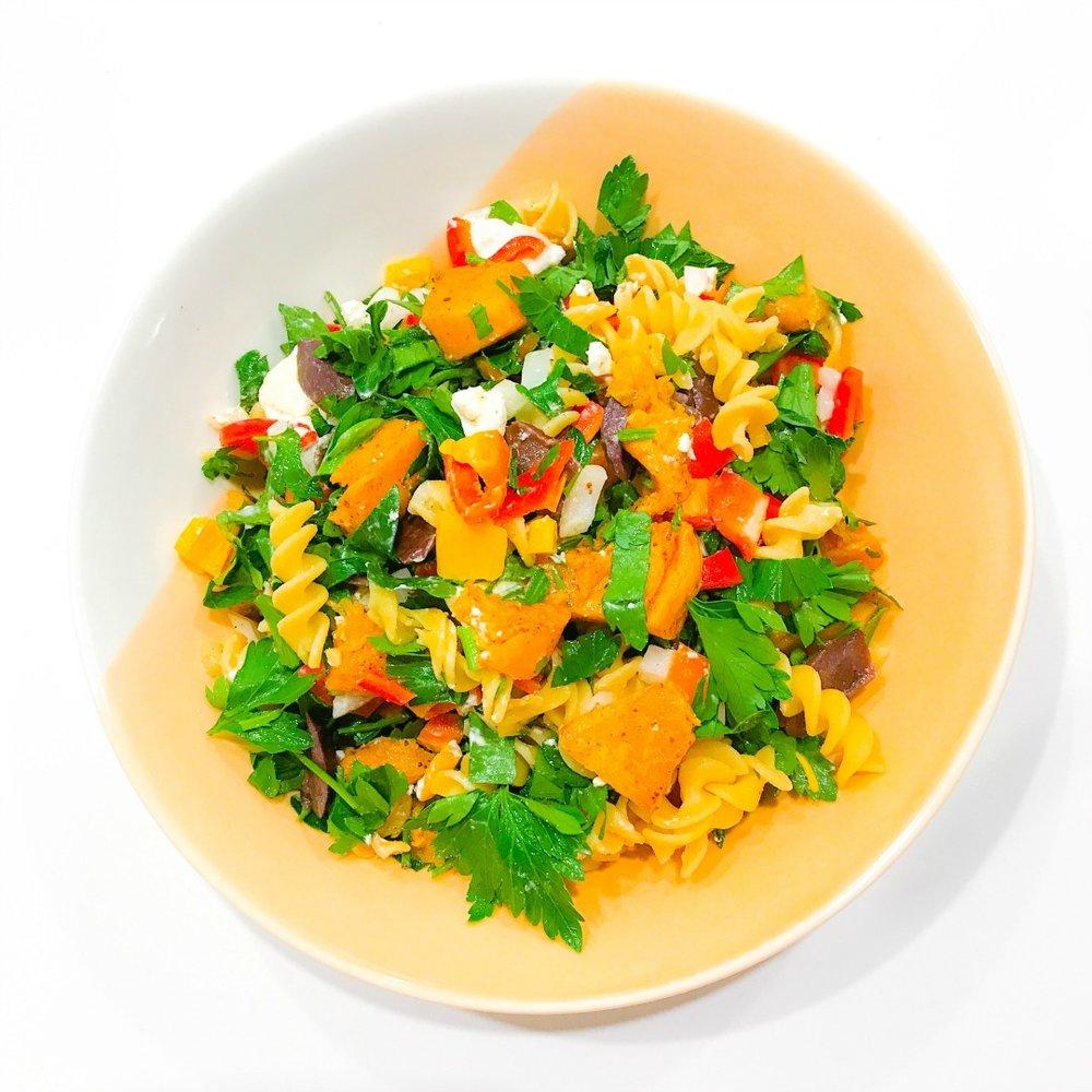 Pumpkin Feta and Olive Pasta