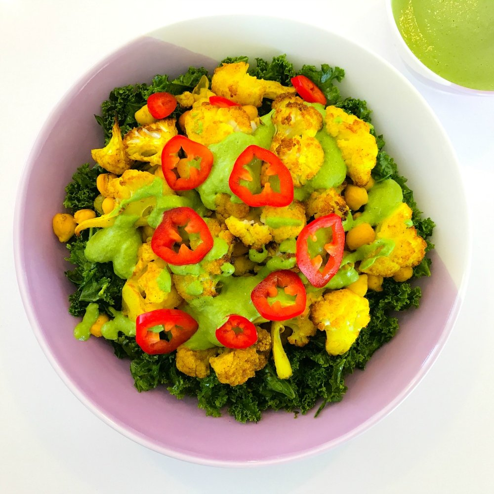 Turmeric Roasted Cauliflower & Chickpea Salad with Green Tahini Dressing