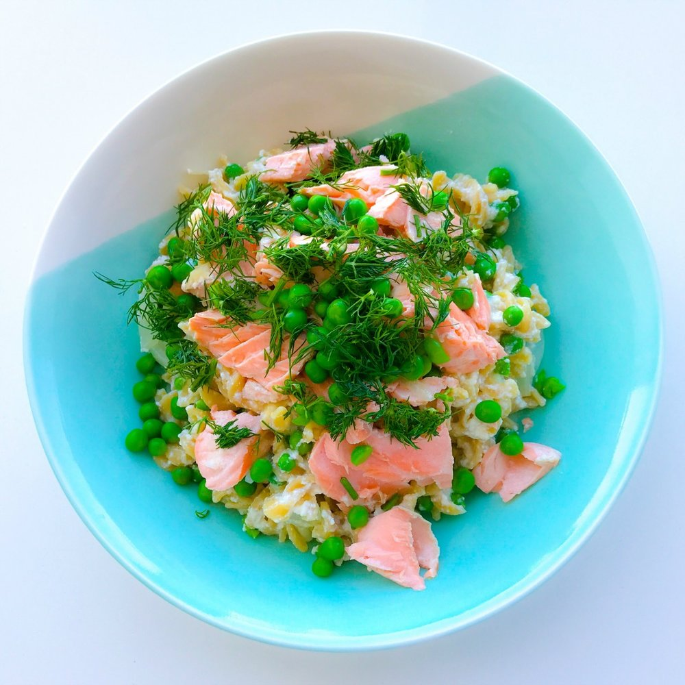Lemon & Ricotta Pasta with Salmon, Green Peas & Dill