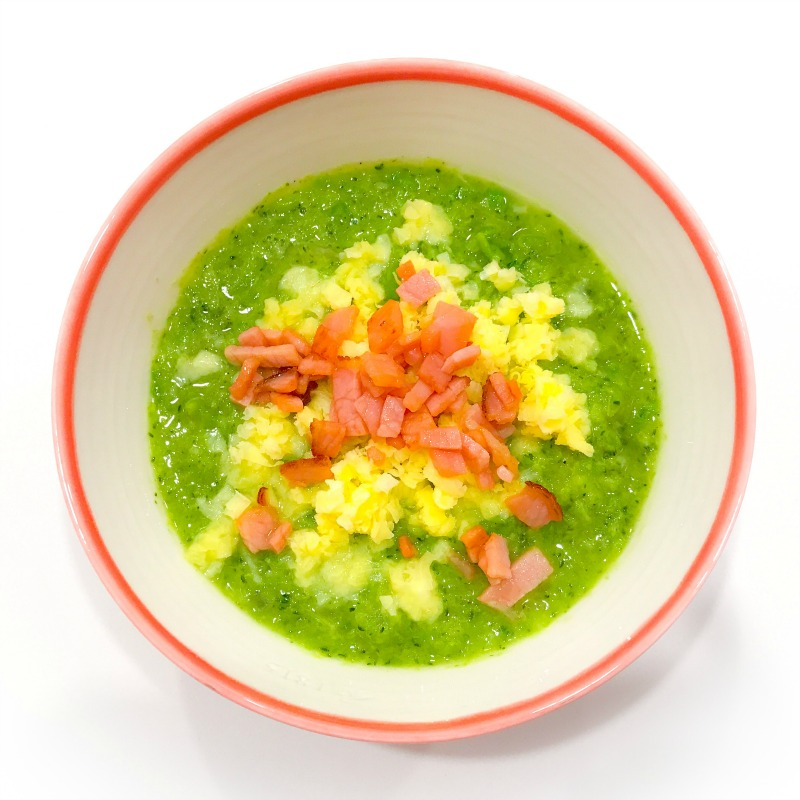 Broccoli and Green Pea Soup with Bacon and Cheddar