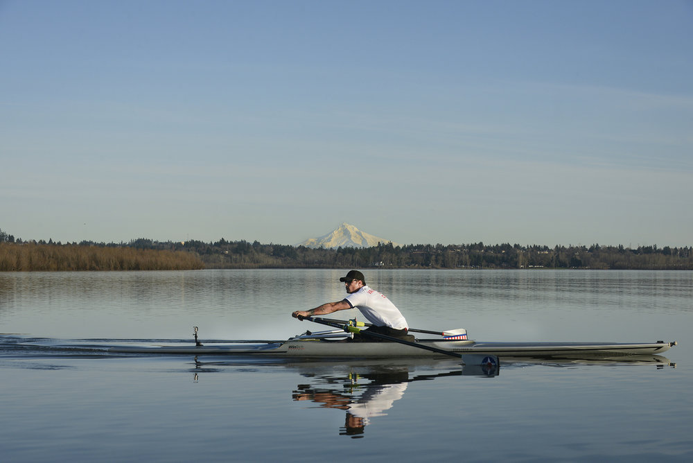 Anthony Davis rows on Vancouver Lake January 25, 2015, in preparation for the 2016 Paralympics in Rio. Davis, a U.S. Navy veteran, discovered rowing after doctors told him he would never walk again, following a devastating traffic accident. In an attempt to overcome depression and regain normalcy, Davis devoted his life to rowing. (Ariane Kunze/The Columbian)