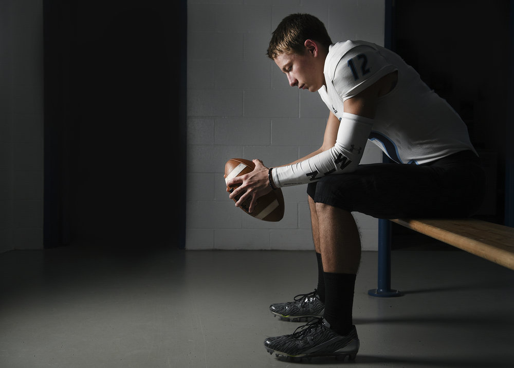 Hockinson quarterback Canon Racanelli, the All-Region football player of the year, is pictured in the locker room at Hockinson High School, Thursday November 30, 2017. (Ariane Kunze/The Columbian)
