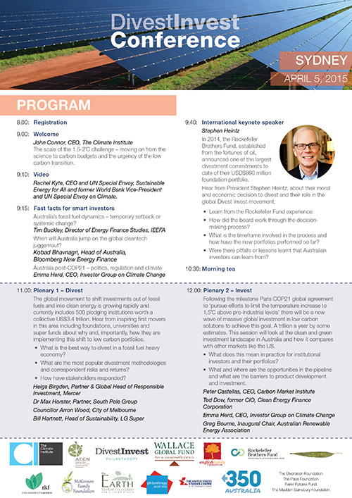 Divest Invest Conference Program Click here to see PDF of conference program.