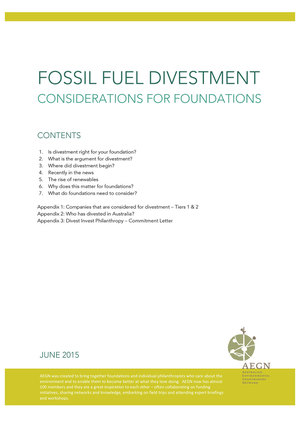 AEGN Fossil Fuel Divestment: Considerations for Foundations
