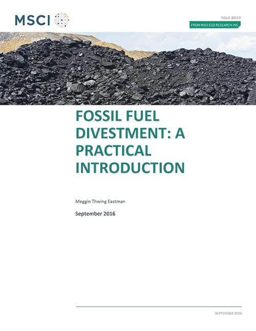 MSCI Fossil fuel divestment: a practical introduction