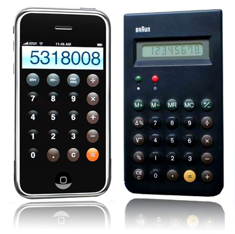 Apple's iOS3 Calculator & the Braun ET-44 Calculator