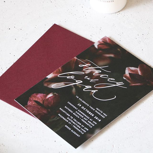 Stacey and Logan moody florals with burgundy | image @biancatuzee . . #paperfusiondesign #weddinginvitations  #modernbride #moodyflorals #bridetobe #weddinginvitations #weddingsperth #perthbride #weddingsignageperth #graphicdesignperth #eventsperth #weddingday #weddinginspo #ontheday #menudesign