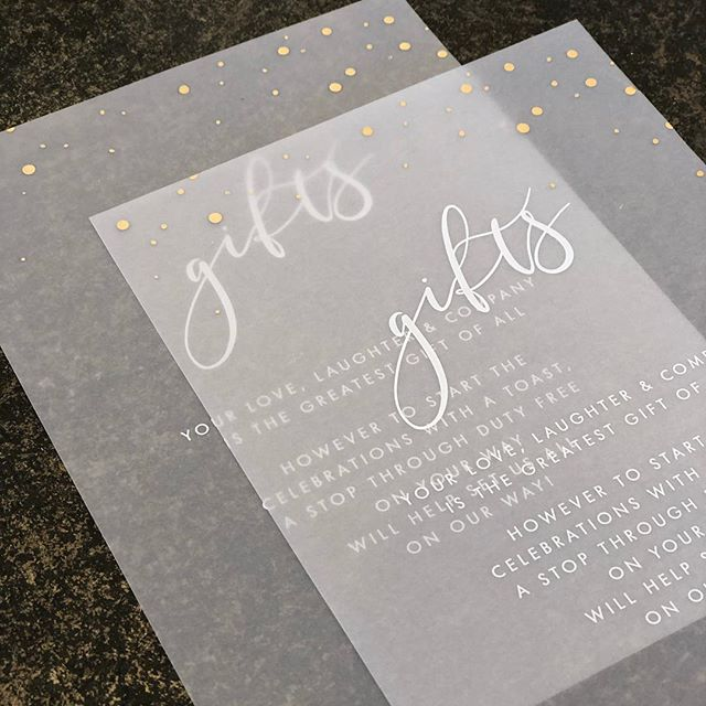 White ink + gold foil on vellum - accents for Brooke and Thomas's chilled Bali wedding
