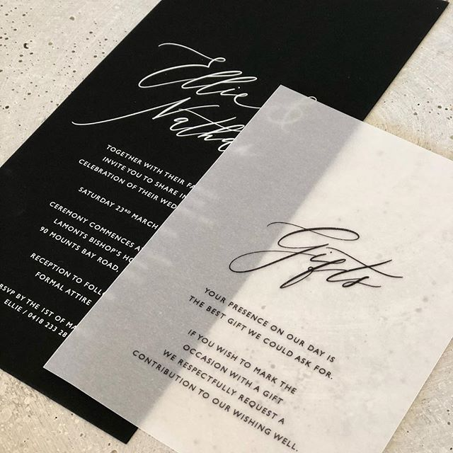 Ellie and Nathan in black and white with vellum . . . . . . . #paperfusiondesign #perthbride #paperfusionboutique #bride2019 #velluminvitation #bridetobe #weddinginvitations #weddinginspo #eventstationery #wedding #weddinginvitationsperth #invitationsuite #invitationstationery #weddingdetails #engaged #weddingmenucards