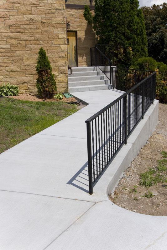 Concrete steps, sidewalk, Saint Paul, Woodbury, church,MN, M. F. Fleischhacker