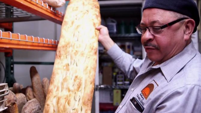 Il Forno Bakery's Ramon Eduardo with his signature focaccia.  Il Forno is a featured business on The Bronx Vendor's Platform.