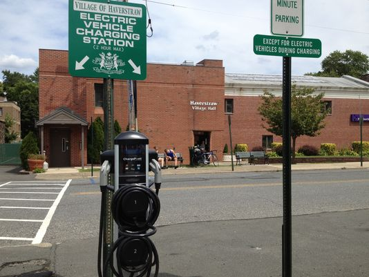 Charging station in the Village of Haverstraw, NY, one of the locations secured by the Barretto Bay team for a statewide deployment program aimed at building a robust electric vehicle ecosystem in New York.