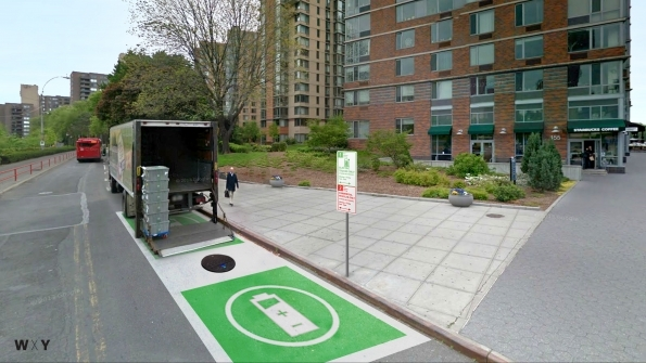 Proposed Green Loading Zone for zero emission delivery vehicles on New York's Roosevelt Island.