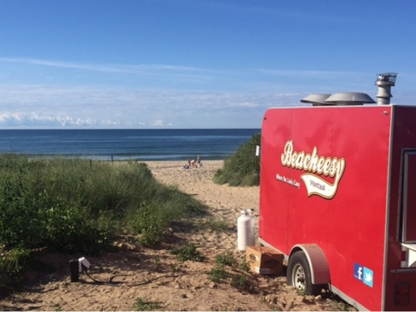 Beacheesy food truck plugged into MOVE Systems pedestal at Ditch Plains Beach, Montauk, NY, July 2016