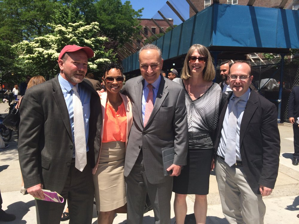 Hunts Point Rebuild By Design team and Senator Chuck Schumer at July 2014 event celebrating $20 million award from the U.S. Department of Housing and Urban Development in federal resiliency competition.