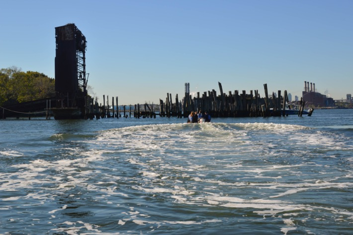 The gantry on the approach to North Brother Island.Photo: Jen Kirby/New York Magazine