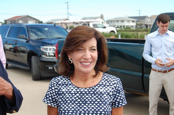 ew York State Lieutenant Governor Kathy Hochul representing Governor Andrew Cuomo at Ditch Plains Beach JON WINKLER