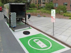 """NYSERDA and NYSDOT engaged Barretto Bay and its partners WXY and Energetics to evaluate the utility and potential impacts of """"green loading zones"""" (""""GLZs""""), meant to incentivize the use of commercial electric vehicles in dense metropolitan areas. Barretto Bay devised and developed the GLZ concept as a public policy tool to encourage EV adoption without the application of direct subsidies to the fleet operator"""