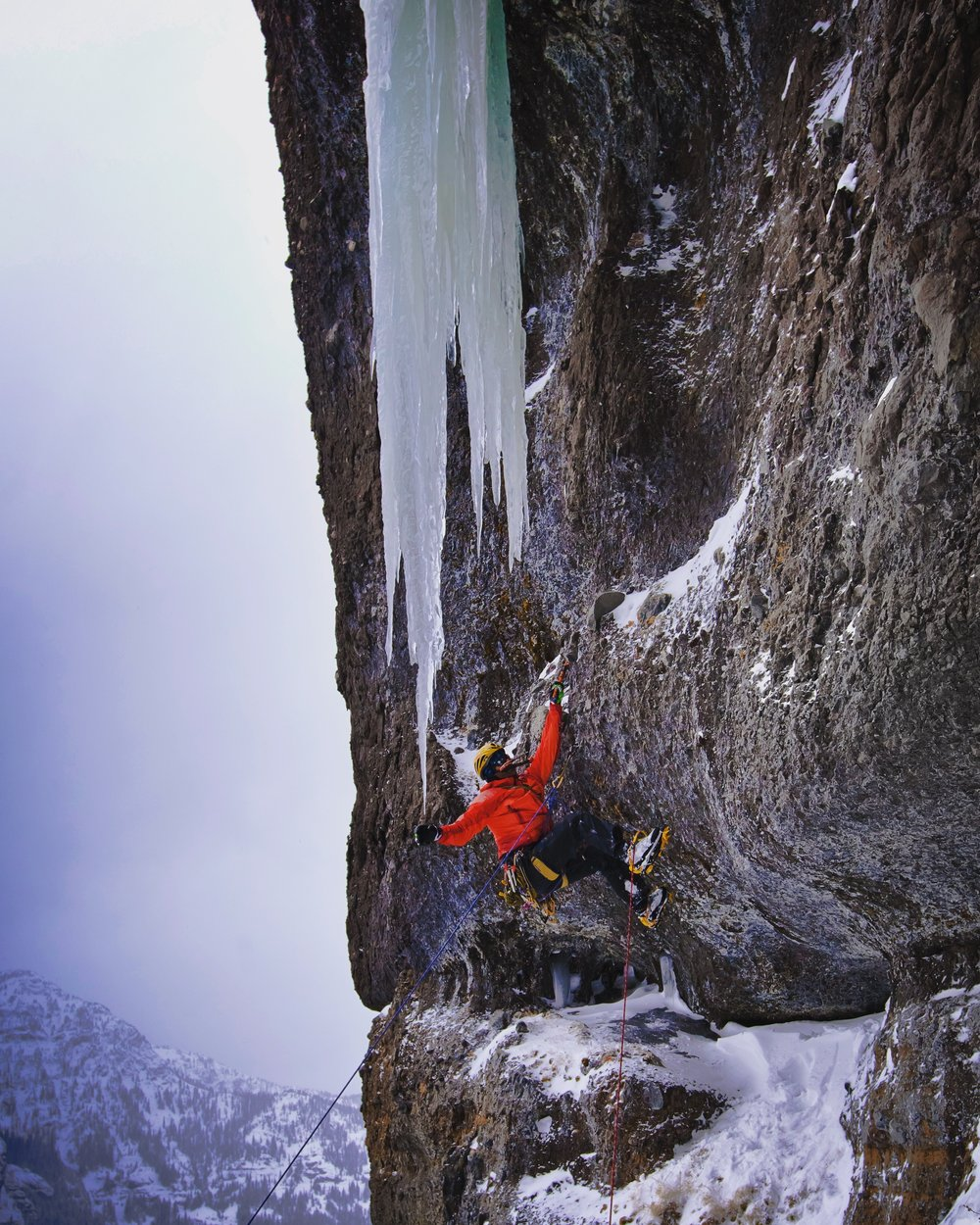 "Scott Adamson on the direct FFA of ""Rocket Boy"" WI6 10D in Hyalite Canyon."