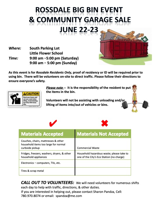 Rossdale Big Bin Event and Community Garage Sale - June 22