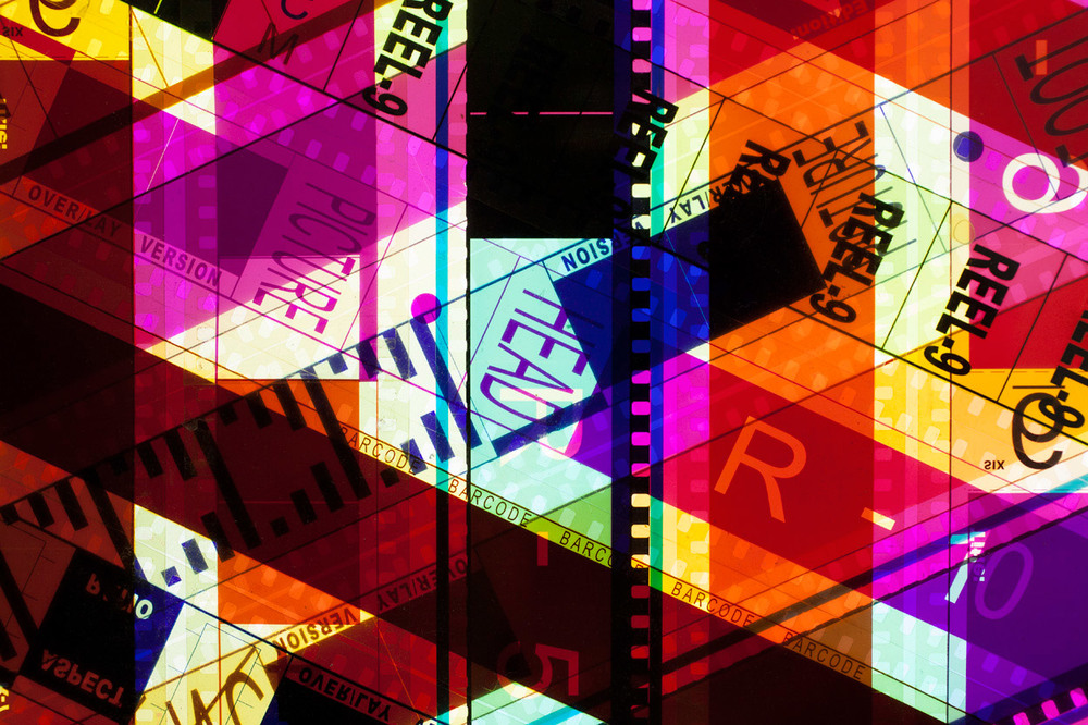 Reel-9 (Magenta).  35mm Celluloid Film, Fluorescent Lights, Plexiglas, Custom Lightbox. 52x26x6. Richard Kerr. 2014. (Detail).