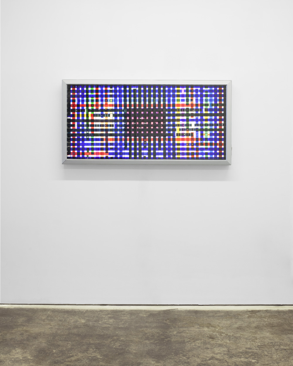Chart Control (Blue).  35mm Celluloid Film, Fluorescent Lights, Plexiglas, Custom Lightbox. 52x26x6. Richard Kerr. 2014.