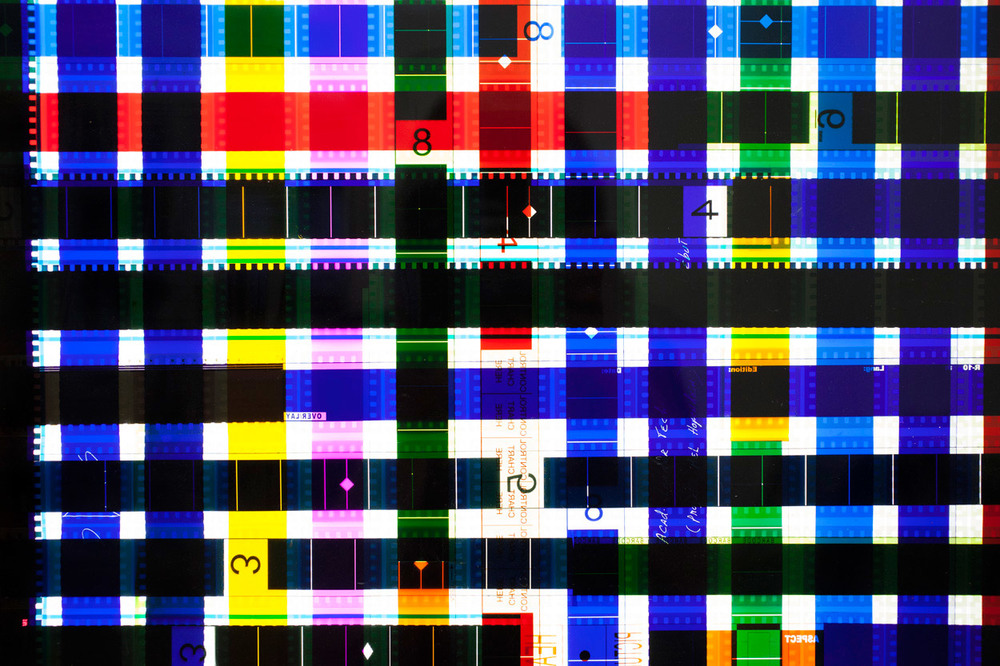 Chart Control (Blue).  35mm Celluloid Film, Fluorescent Lights, Plexiglas, Custom Lightbox. 52x26x6. Richard Kerr. 2014. (Detail).