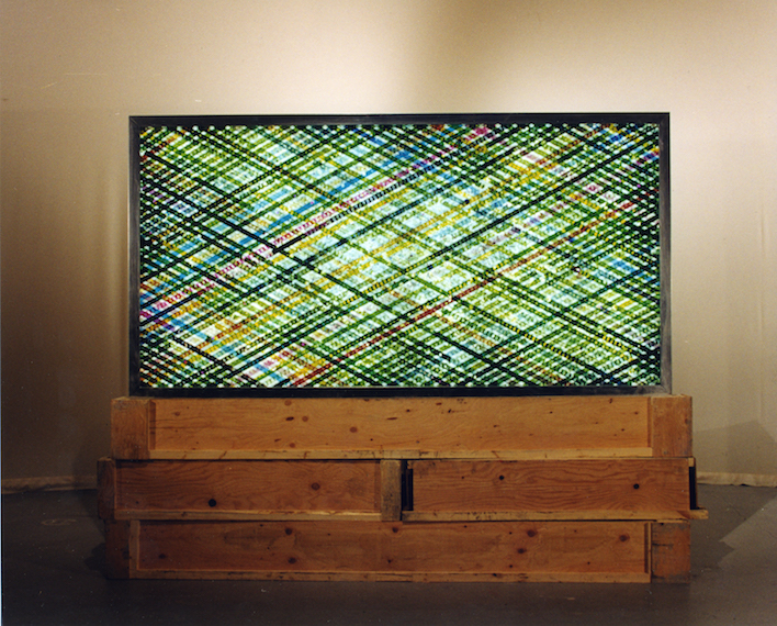 Drive In.  16mm Celluloid Film, Fluorescent Lights, Glass, Custom Lightbox. 96x48  Richard Kerr. 1998.     *Collected by University of Lethbridge Art Gallery.