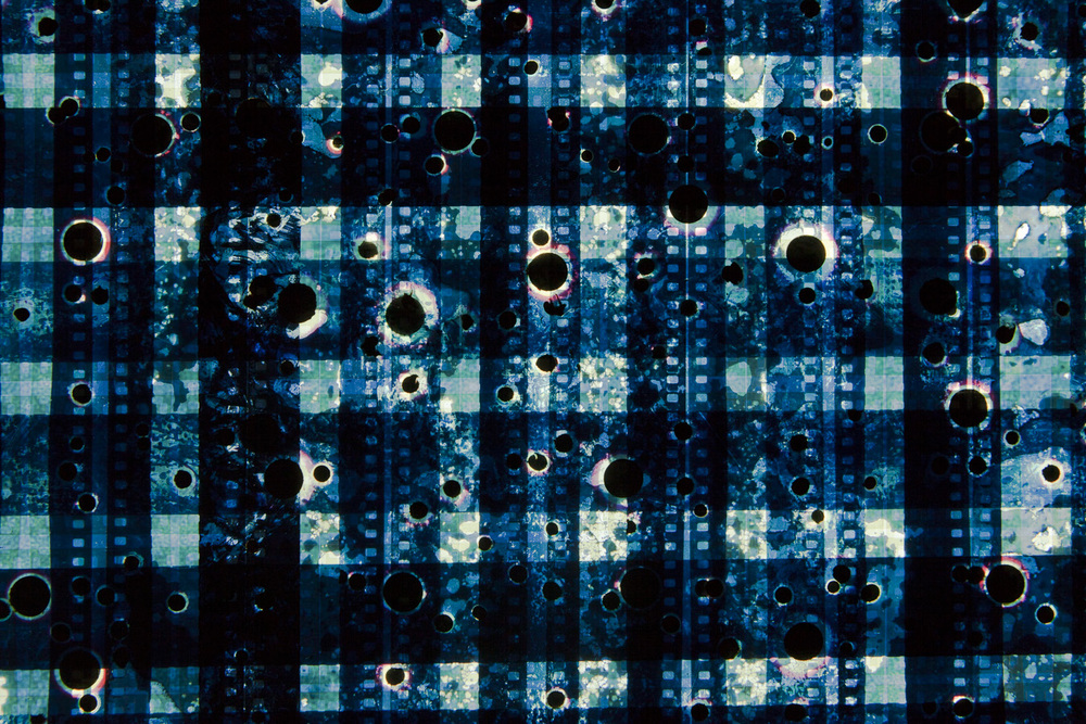 Drill Blue (Woven). 35mm Celluloid Film, Fluorescent Lights, Custom Lightbox. 30x30x6. Richard Kerr. 2016. (Detail).