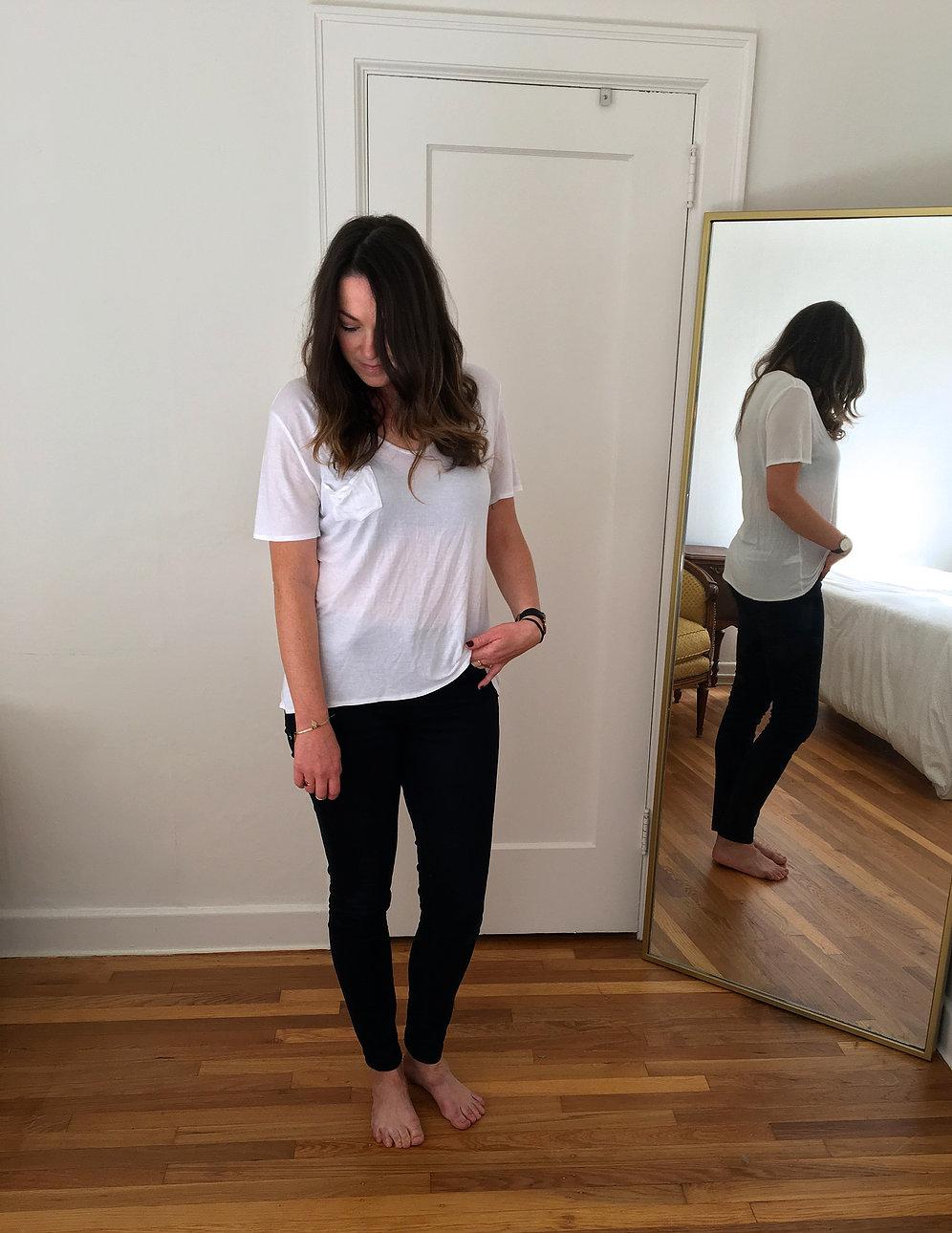 Black jeans - Imogene + Willie ,      T-shirt - Everlane