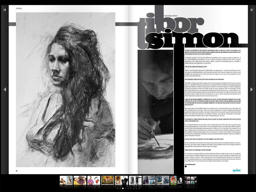 "Zaina Shreidi, ""Interview with Tibor Simon-Mazula"", Quint Magazine, July 2011, pp. 50-51, United Arab Emirates"