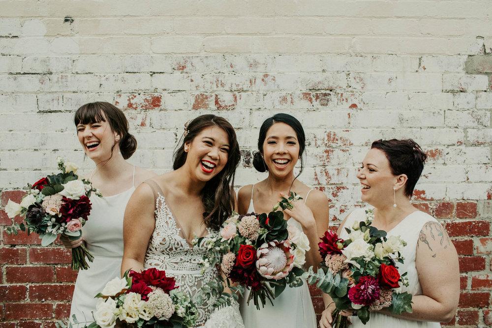 Bridemaids giggle Melbourne wedding photographrer
