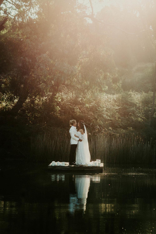 Couple on boat Melbourne wedding photographer