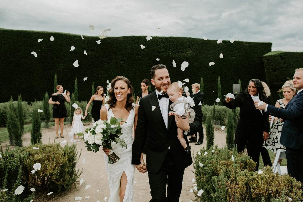 Couple flower toss Melbourne wedding photographer