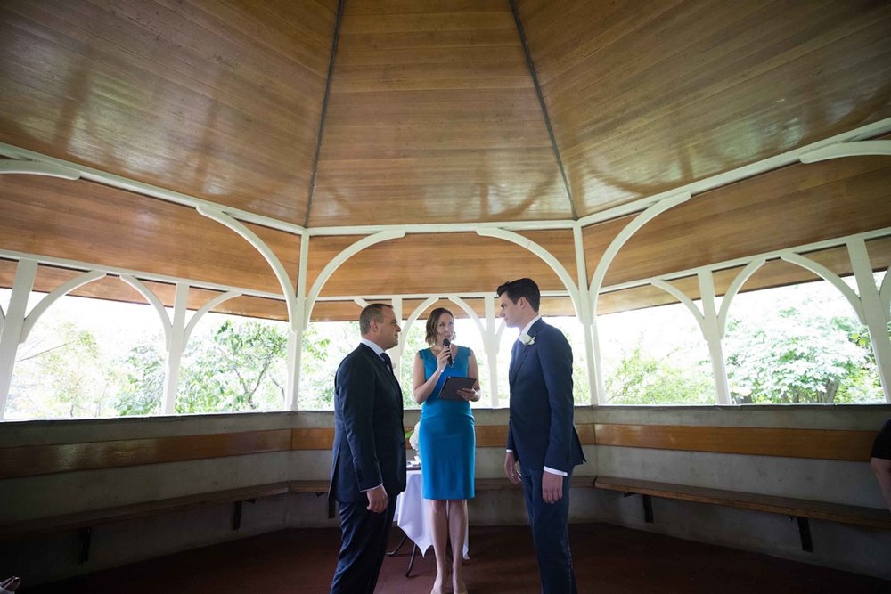 Koren Harvey Melbourne marriage celebrant with two men