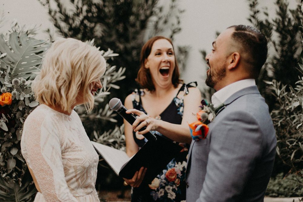 Koren Harvey Melbourne marriage celebrant laughing