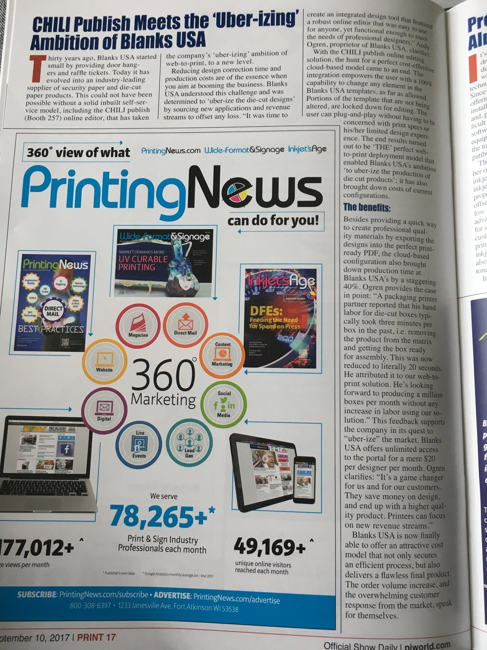 Blanks USA featured in first #print 17 Daily edition.