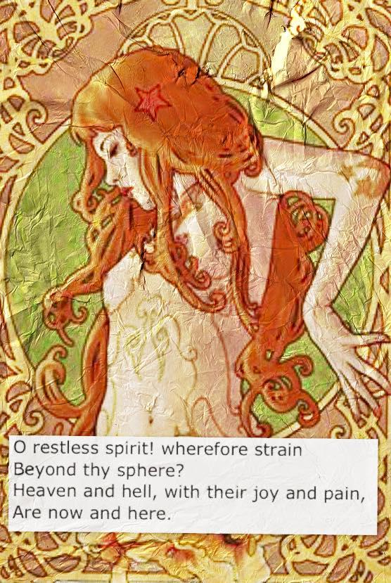 Poem by Whittier, macro edit by Misty Ellingburg, source image by Alphonse Mucha