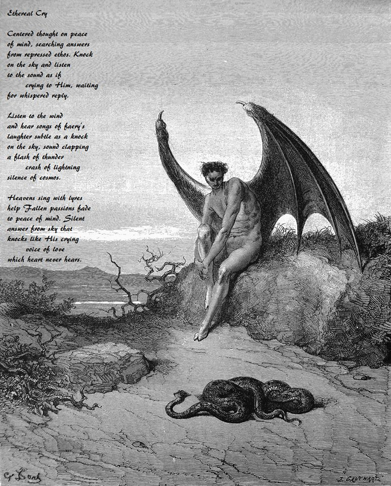 """by Sarah Fordyce, """"Ethereal Cry"""", Image macro by Jonathan Steinklein, art by Gustave Dore"""